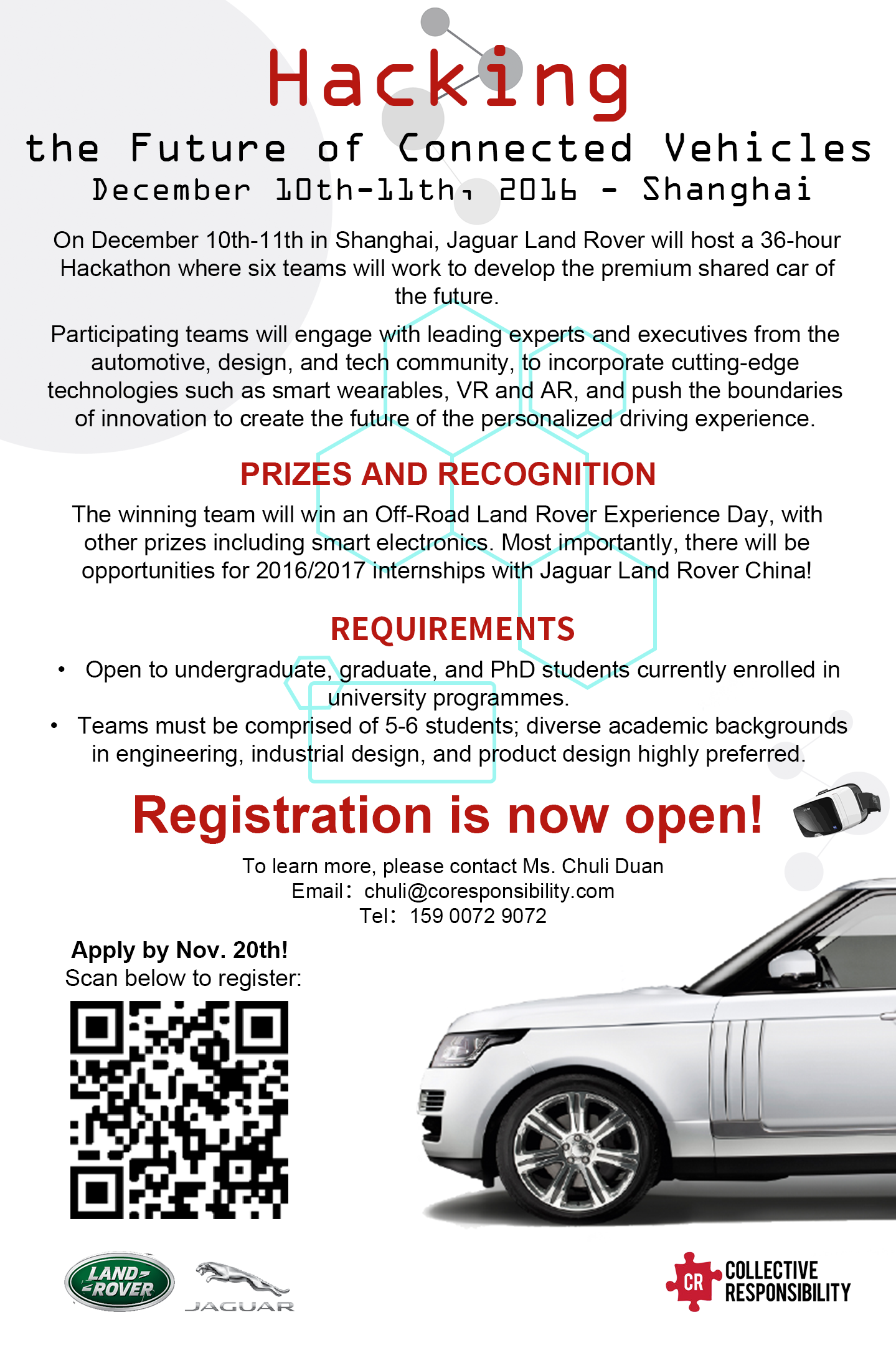Hacking the Future of Connected Vehicles: the 2016 Jaguar Land Hackathon, on December 10th-11th in Shanghai.